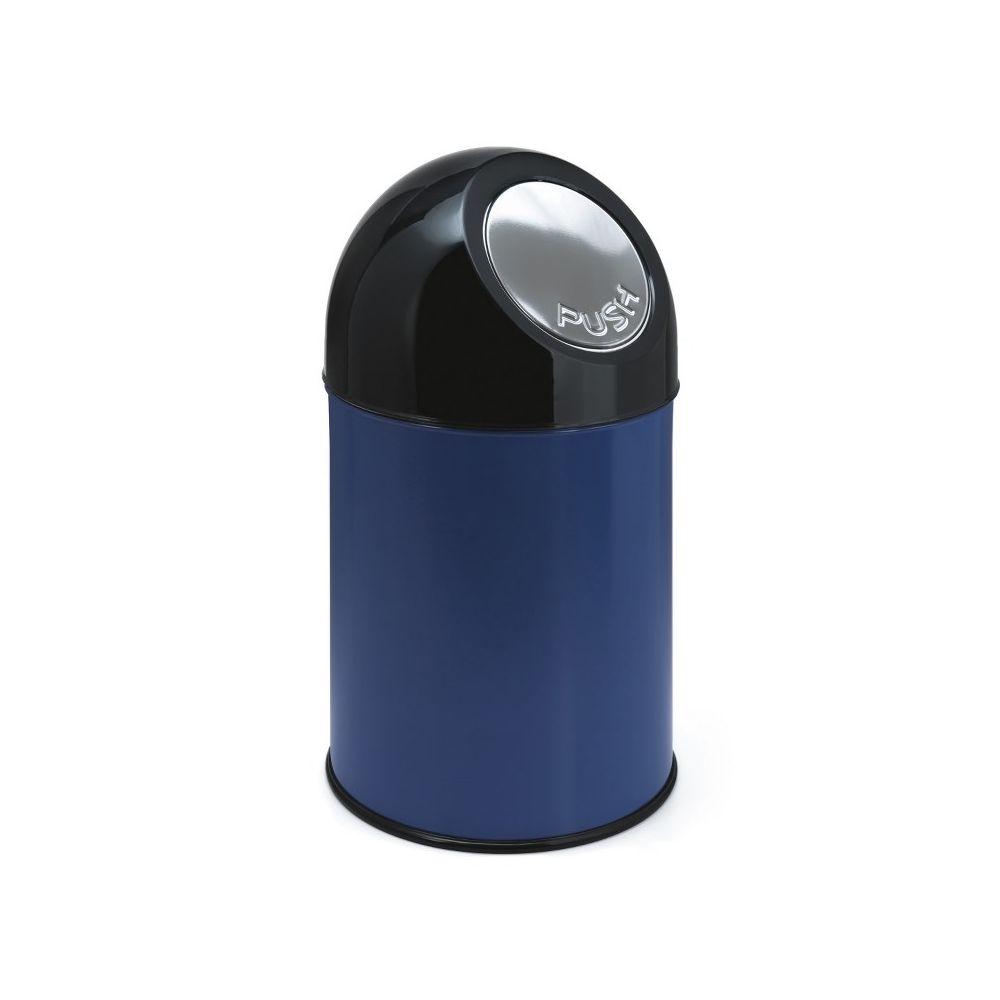 Afvalbak met pushdeksel en binnenemmer 30 ltr - blauw/ zwart