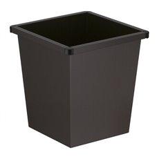 Vierkant tapse papierbak - zwart