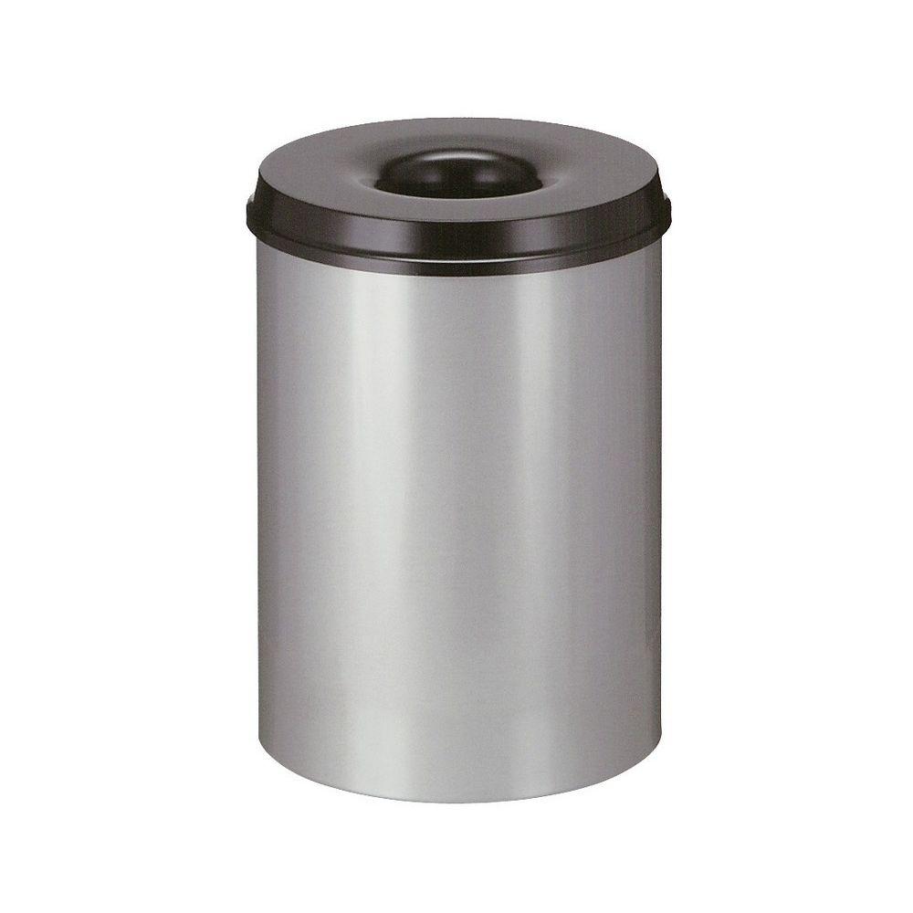 Vlamdovende papierbak 30 ltr - aluminiumgrijs/zwart