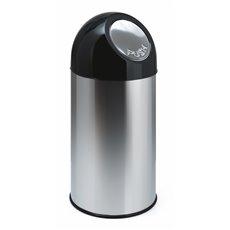 Afvalbak met pushdeksel 40 ltr - RVS/zwart
