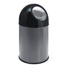 Afvalbak met pushdeksel 30 ltr - metallic/zwart
