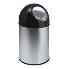 Afvalbak met pushdeksel 30 ltr - RVS, zwart