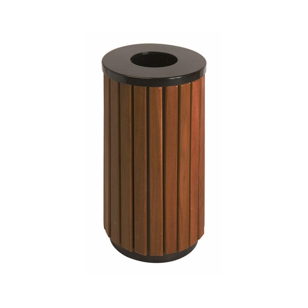Buitenafvalbak 40 ltr - zwart/hout look