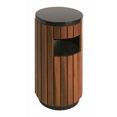 Buitenafvalbak 33 ltr - zwart/hout look