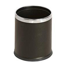 Ronde dubbelwandige papierbak lederlook - zwart/chroom