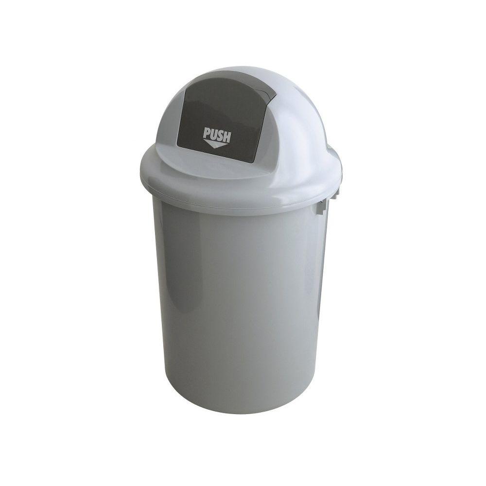 Kunststof afvalbak met klapdeksel, 90 ltr - grijs
