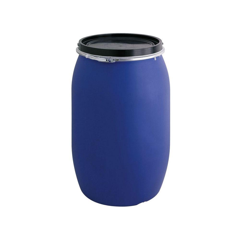 Kunststof ton 120 ltr - blauw/ zwart