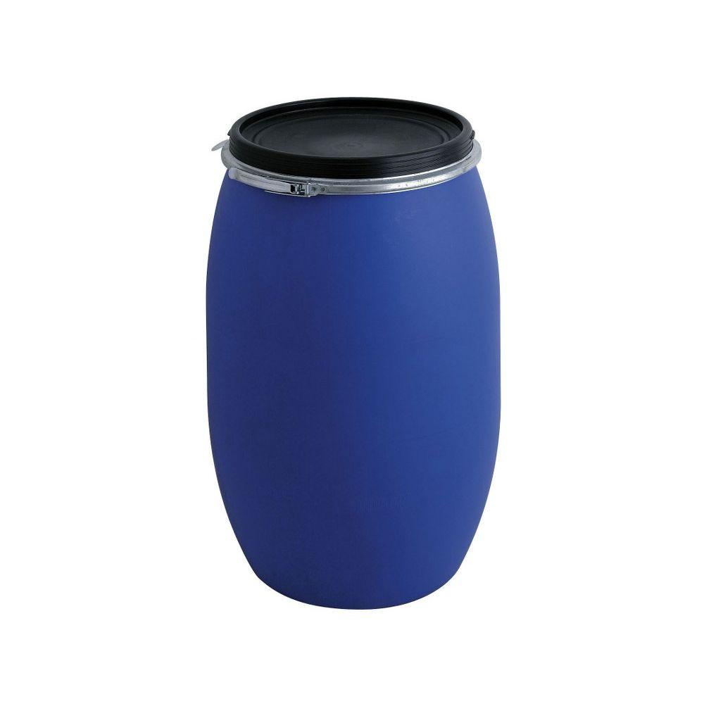 Kunststof ton 220 ltr - blauw/ zwart