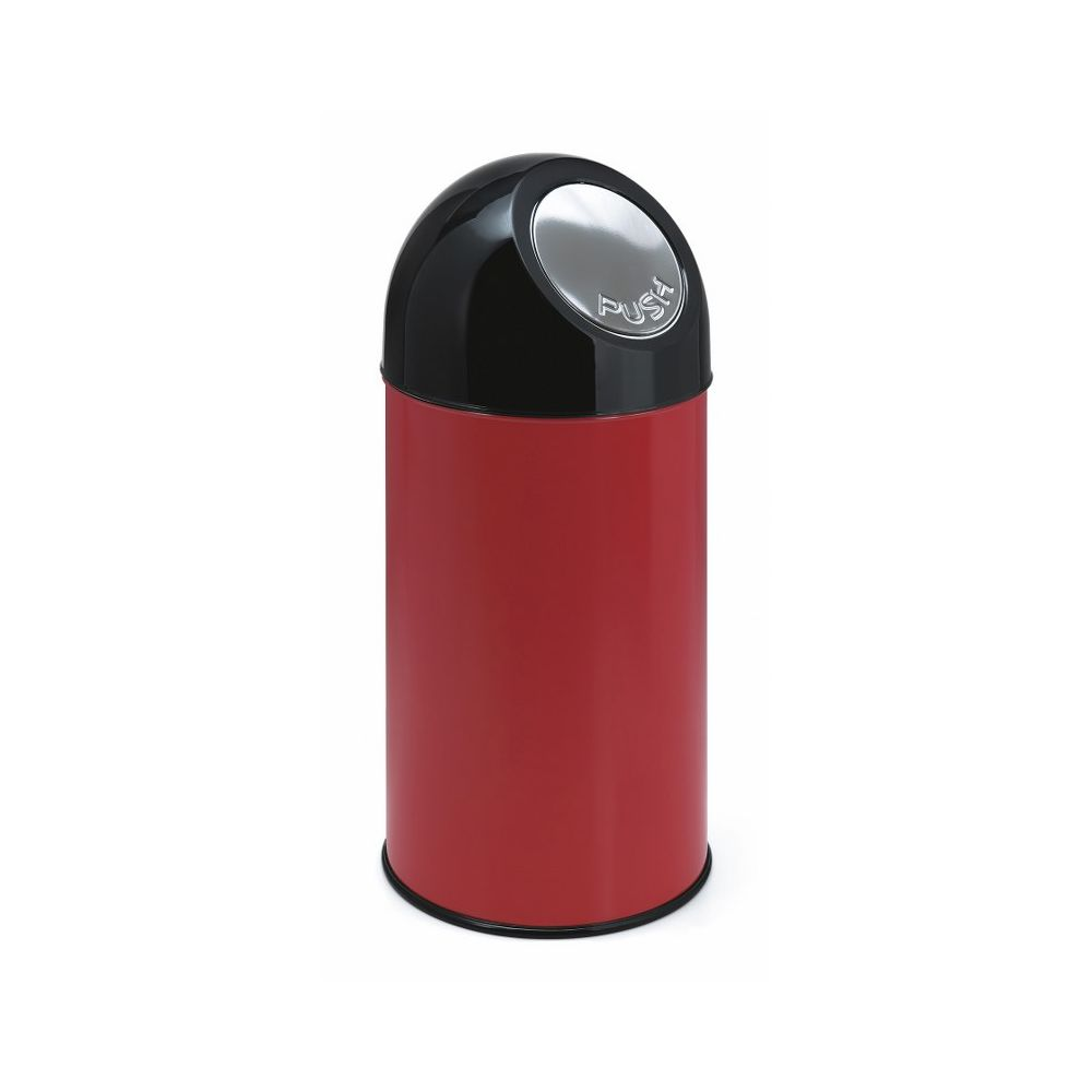 Afvalbak met pushdeksel en binnenemmer 40 ltr - rood/ zwart