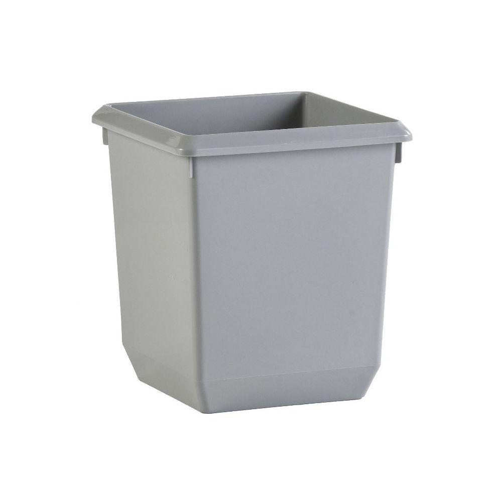 Vierkant tapse papierbak 21 ltr - grijs