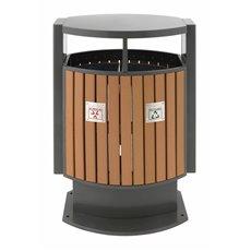 Buitenafvalbak afvalscheiding houtlook