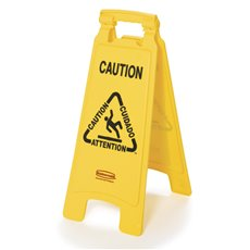 Rubbermaid Tweezijdig waarschuwingsbord - meertalig - geel