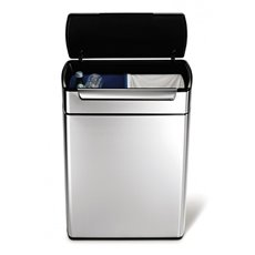 Simplehuman Rectangular Touch-Bar Bin 2x24 ltr - mat RVS