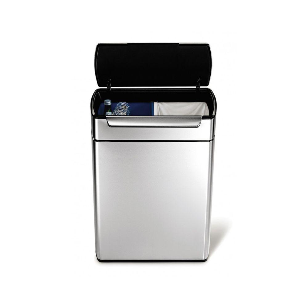 Simplehuman Rectangular Touch-Bar Bin 2x24 ltr, Simplehuman - mat RVS