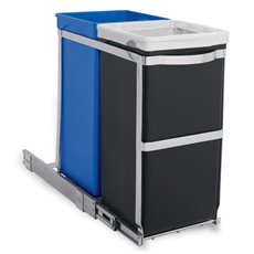 Simplehuman  inbouw afvalbak Pull-out Recycler Bin - chroom/zwart/blauw