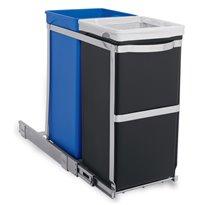 Simplehuman Pull-out Recycler Bin, Simplehuman - chroom/zwart/blauw