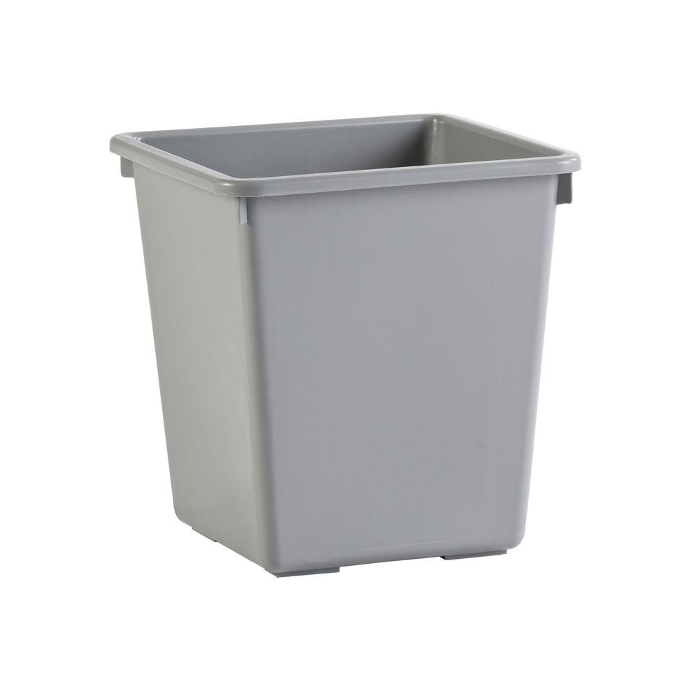 Vierkant tapse papierbak 27 ltr - grijs