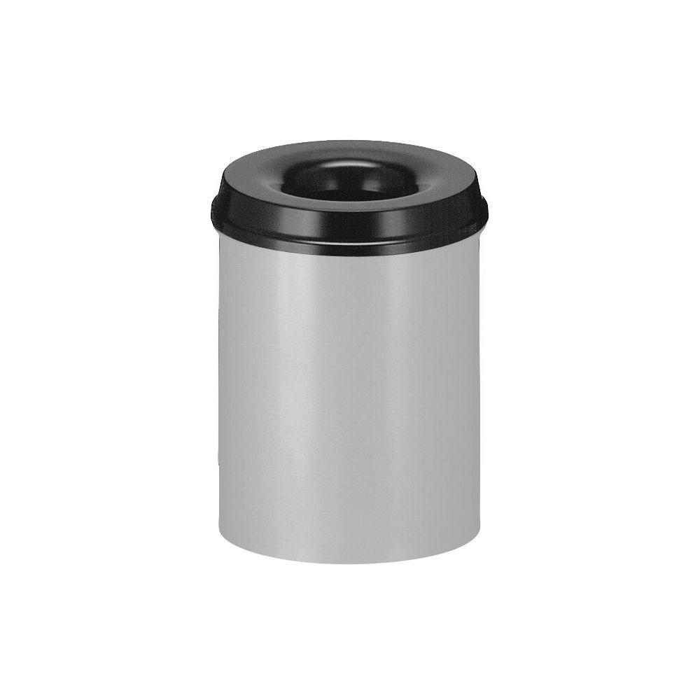 Vlamdovende papierbak 15 ltr - aluminiumgrijs/zwart