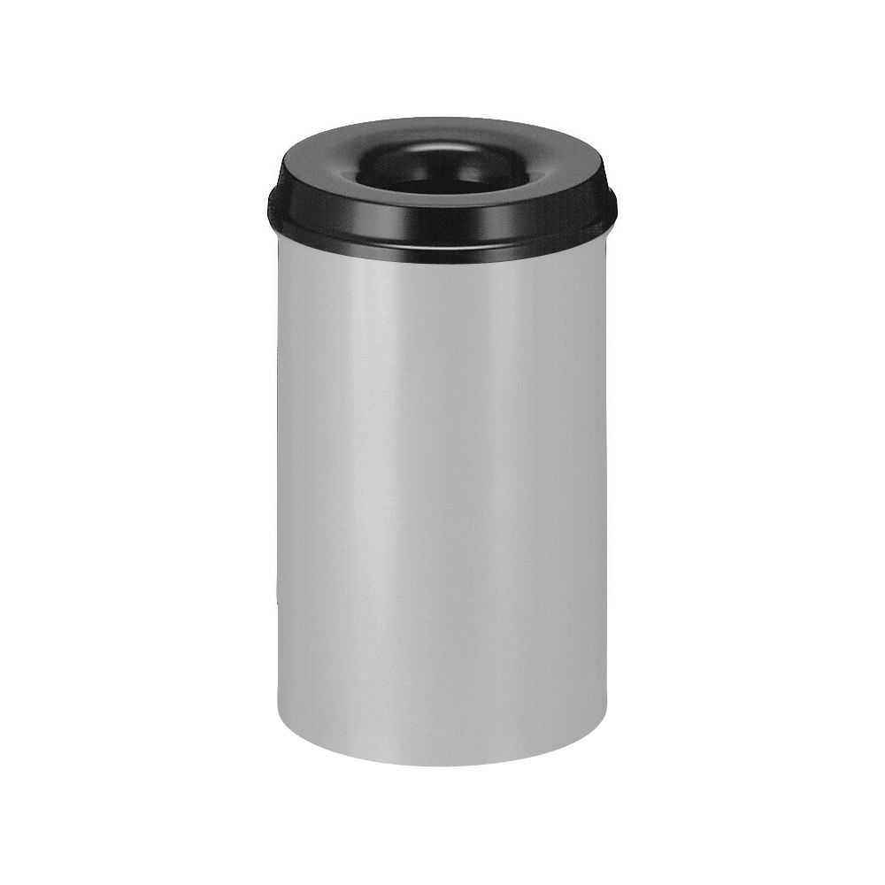 Vlamdovende papierbak 20 ltr - aluminiumgrijs/zwart