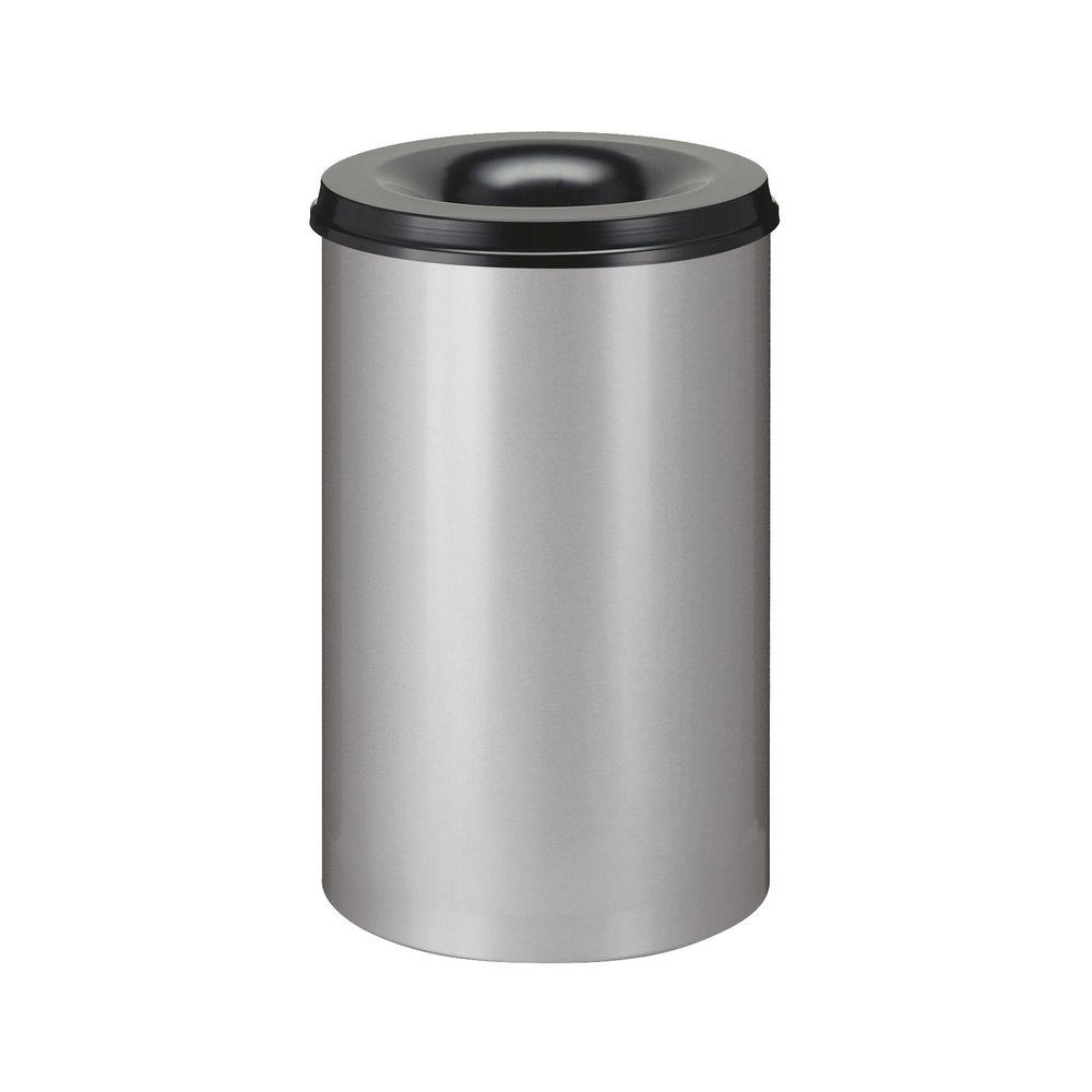 Vlamdovende papierbak 110 ltr - aluminiumgrijs/zwart