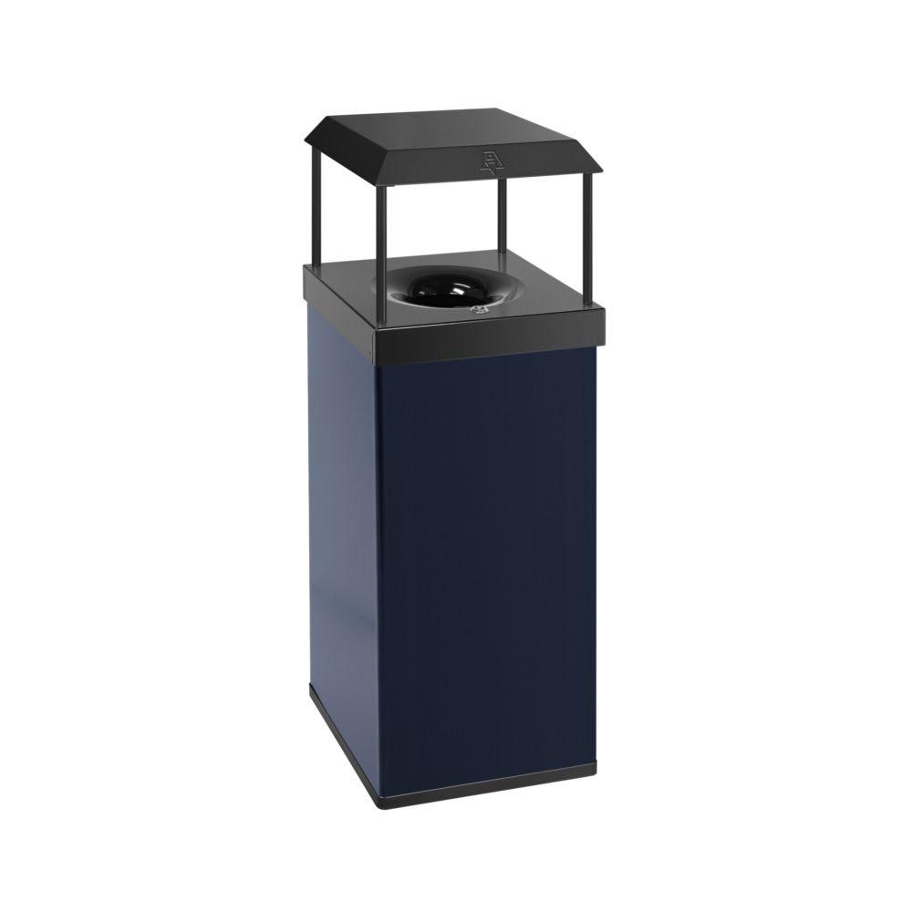 Vlamdovende papierbak met afdak - blauw/ zwart
