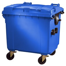 Container 1100 ltr vlak deksel - blauw