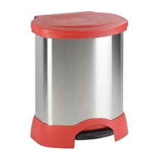 Rubbermaid Step-On afvalcontainer 87 ltr - mat RVS/rood