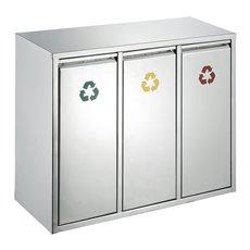 Recycling afvalbak 3x 15 ltr - mat RVS