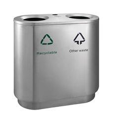 Recycling afvalbak indoor 2x41 ltr - mat RVS