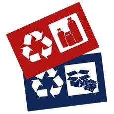Stickerset afvalscheiding - blauw, rood