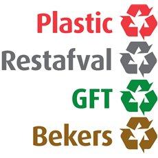 Recycling stickerset NL voor Carro - rood/ grijs/ groen/ geel