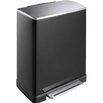 EKO Pedaalemmer E-Cube recycling 28+18 ltr - zwart/mat RVS