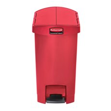 Rubbermaid Slim Jim Step On container End Step kunststof 30 ltr - rood