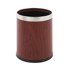 Dubbelwandige papierbak rond - hout/mat RVS
