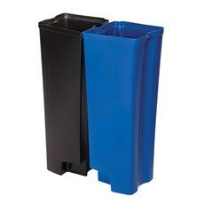 Rubbermaid Recycling binnenbakken 2x45 ltr Front Step kunststof - zwart/blauw