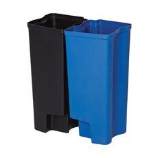 Rubbermaid Recycling binnenbakken 2x15 ltr Front Step kunststof - zwart/blauw