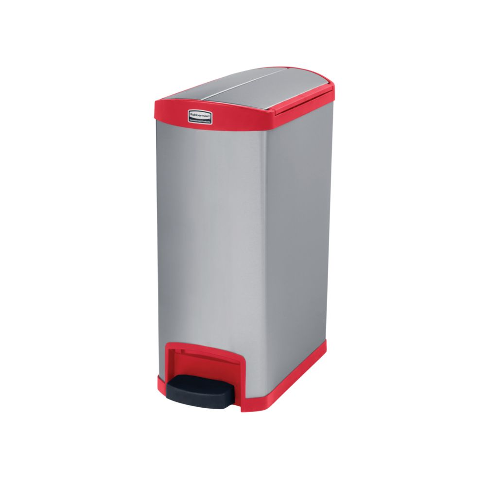 Rubbermaid Slim Jim Step On container End Step RVS 50 ltr - mat RVS/rood