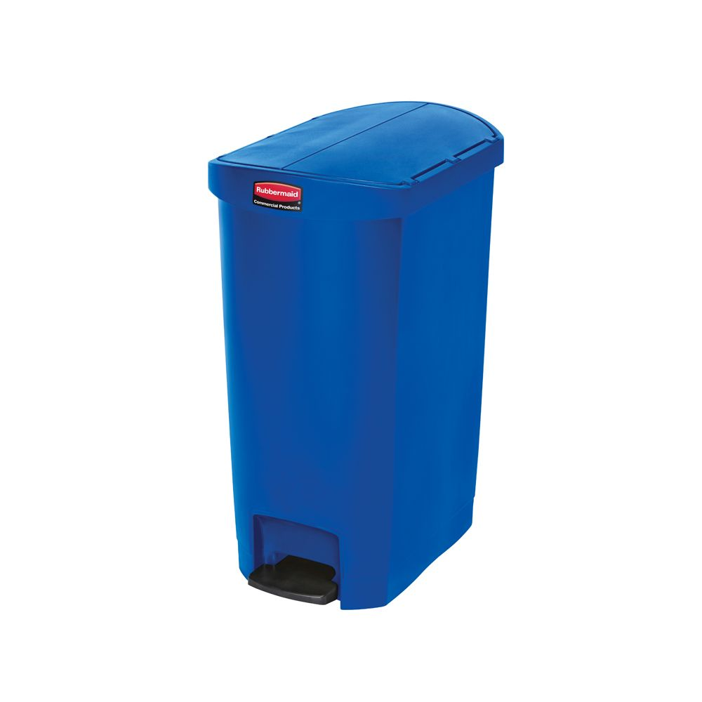 Rubbermaid Slim Jim Step On container End Step kunststof 50 ltr - blauw