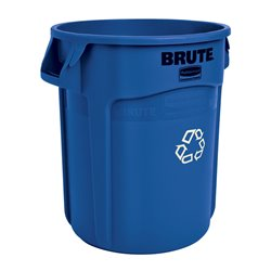 Rubbermaid ronde Brute container 75,7 ltr - blauw met recyclingsymbool