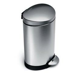 Simplehuman afvalemmer half rond 10 liter - zilver