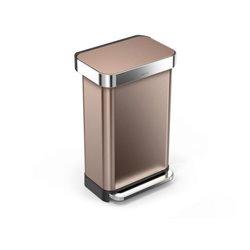 Simplehuman pedaalemmer Rectangular met Liner Pocket 45 ltr - rose goud/RVS
