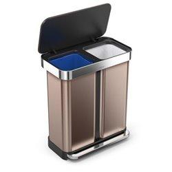 Simplehuman afvalemmer Liner Pocket Recycler 24+34 liter - rose goud