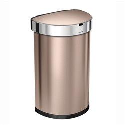 Simplehuman afvalbak Sensor Half Rond met Liner Pocket 45 ltr - rose goud
