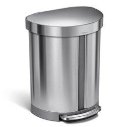 Simplehuman afvalemmer Half Rond 22+33 liter - zilver
