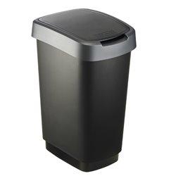 Afvalbak Twist 25 ltr zwart - zilver
