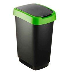 Afvalbak Twist 25 ltr zwart - groen