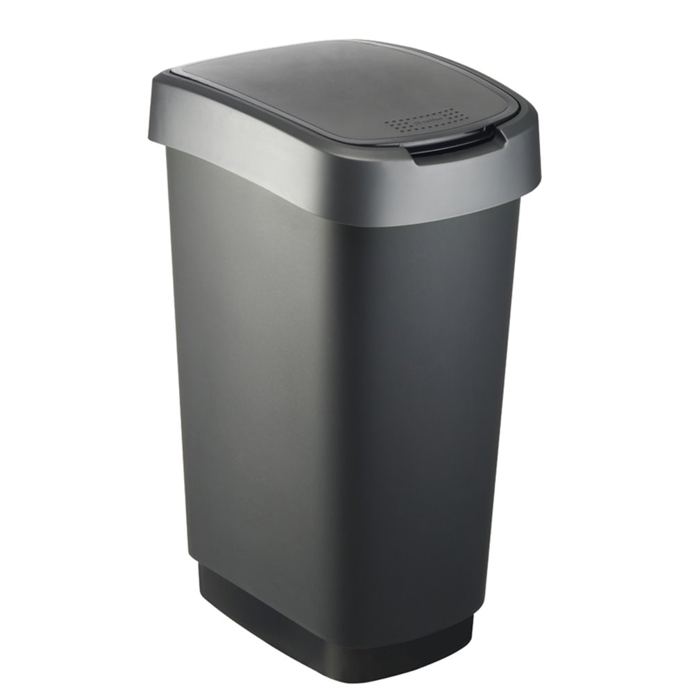 Afvalbak Twist 50 ltr zwart - zilver