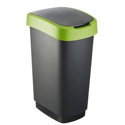 Afvalbak Twist 50 ltr zwart - groen