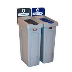 Rubbermaid Slim Jim Recyclingstation 2-stroom NL deksel gesloten (grijs)/flessen (blauw) -  grijs -  grijs -  blauw