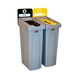 Rubbermaid Slim Jim Recyclingstation 2-stroom NL deksel gesloten (zwart)/papier (geel) -  grijs -  zwart -  geel